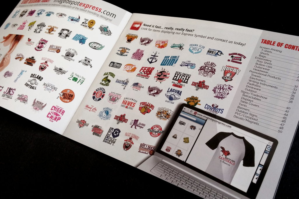 The contents sections of the catalog along with multiple t-shirt designs.