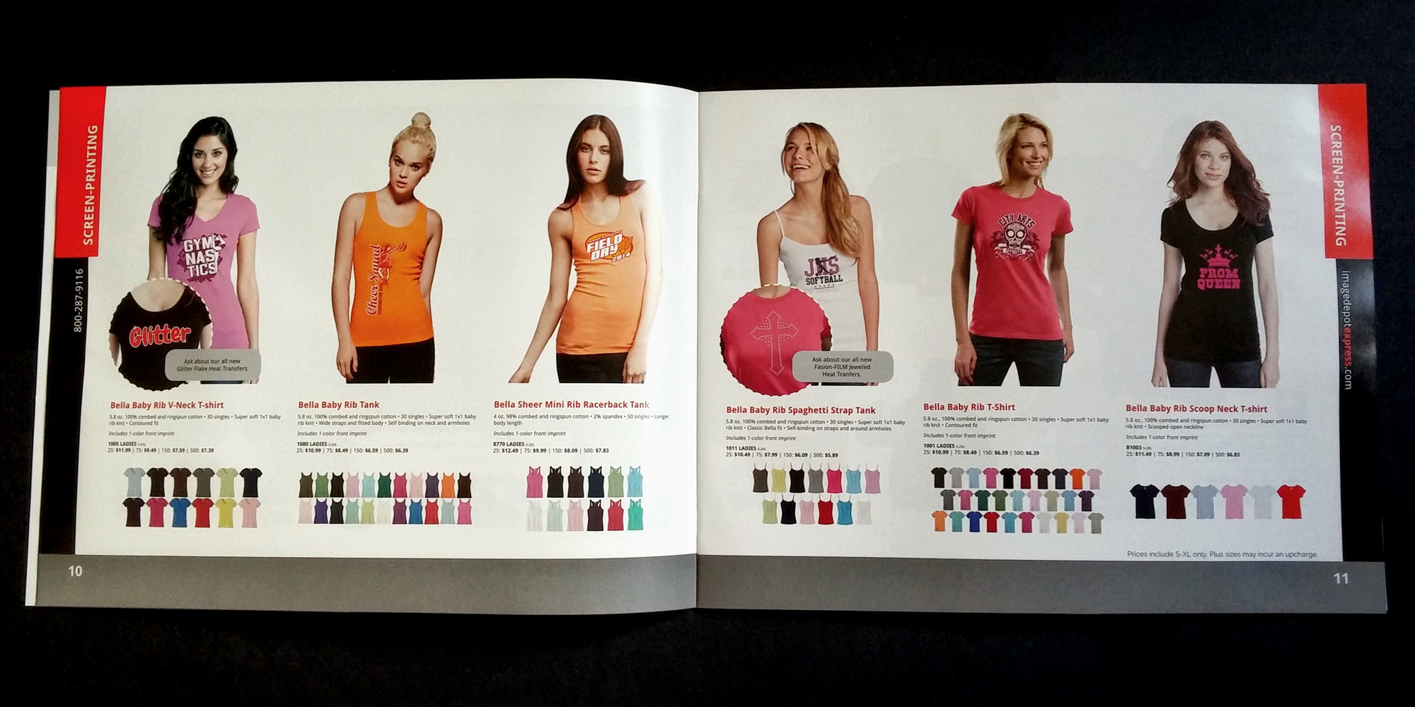 Photo of some apparel products in the Image Depot Express catalog.