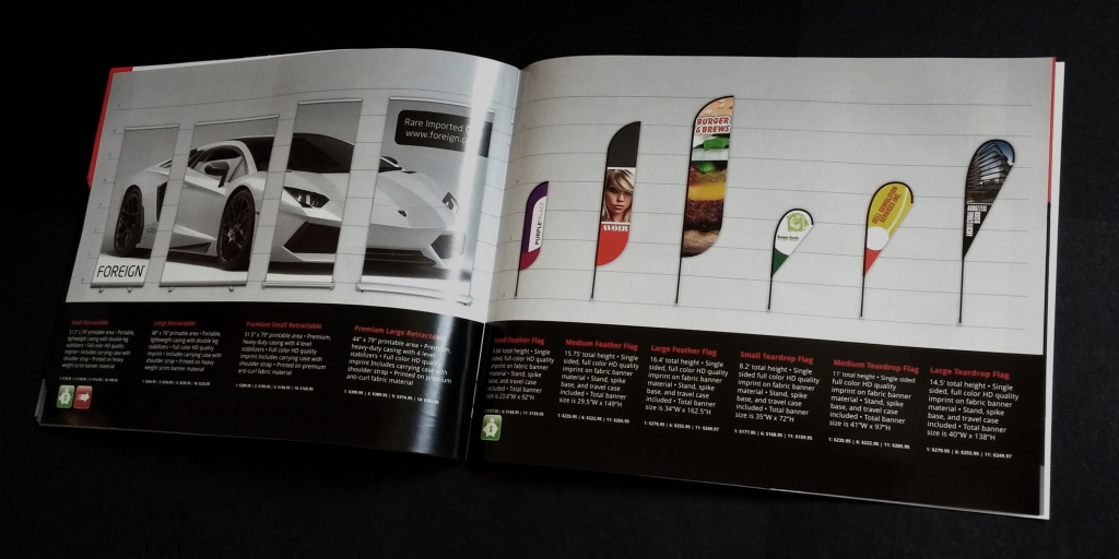 Example layout with 4 retractable banners on the left page, and 4 flag banners on the right page.