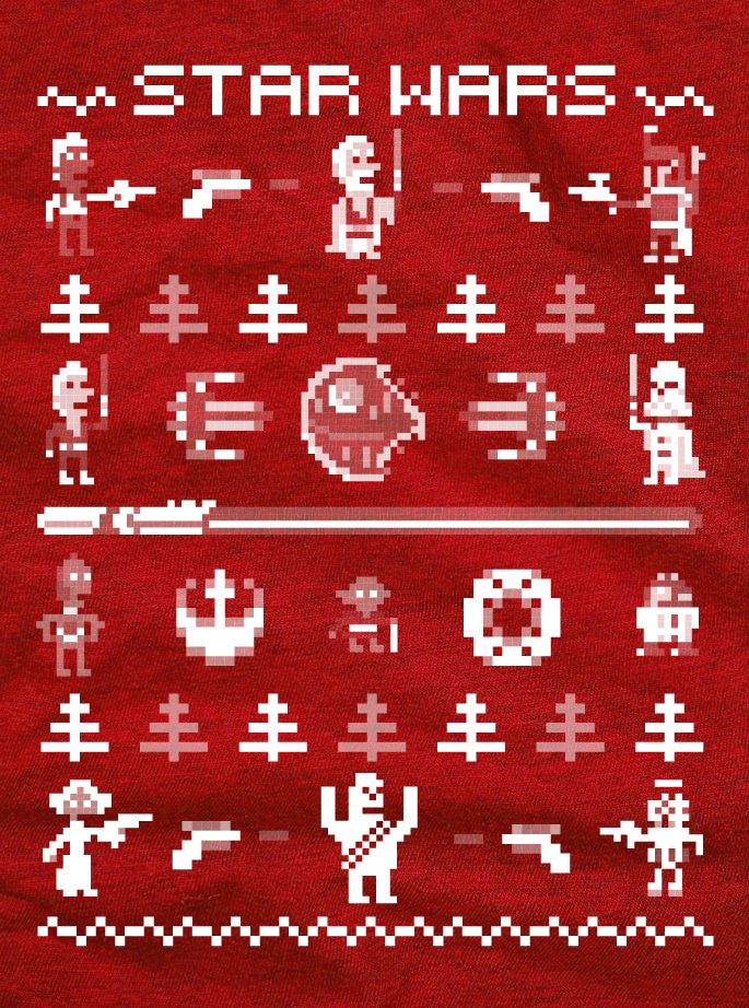 Pixel Star Wars Ugly Sweater Design