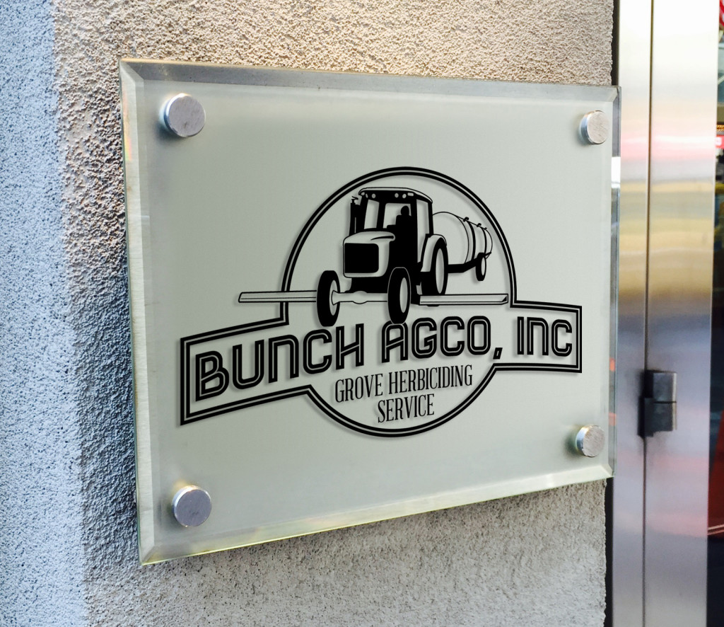 bunch agco logo plexi glass mock-up