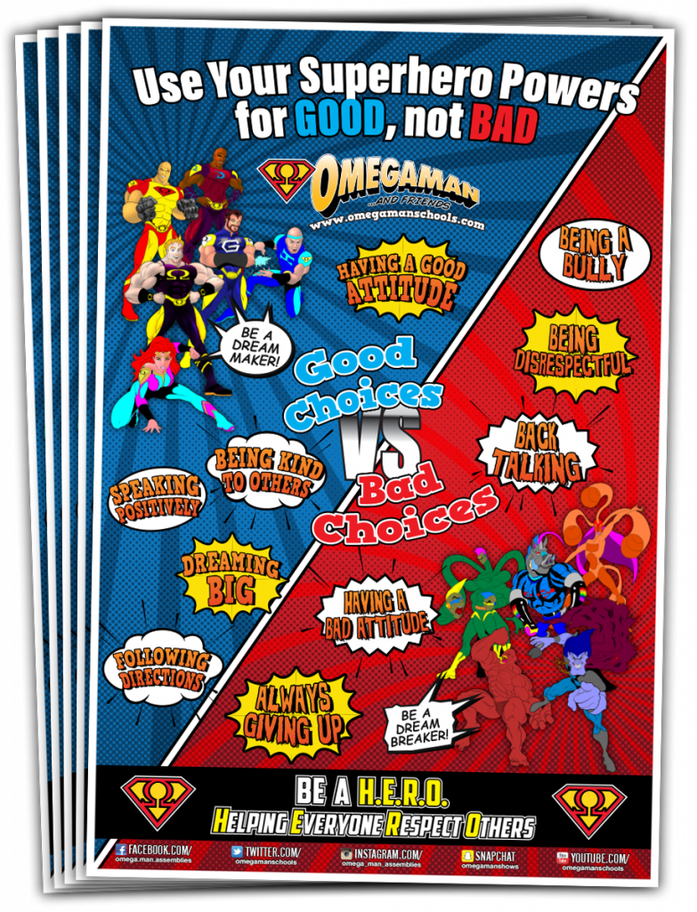 Omegaman & Friends Good Vs Bad Choice Posters