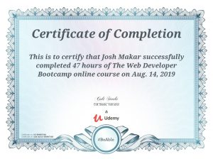 The Web Developer Bootcamp Certificate of Completion
