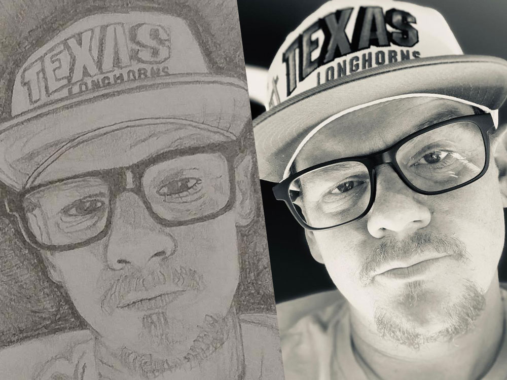 Dustin Blunt Texas Longhorns Hat Sketch