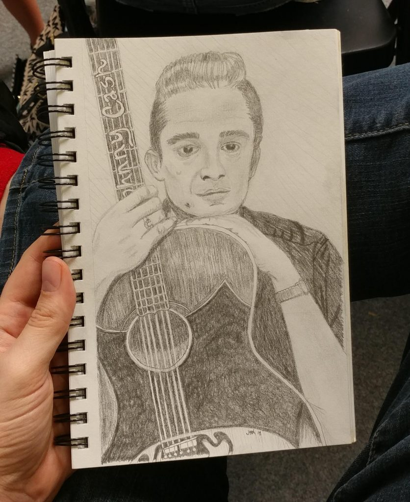 Johnny Cash Holding Guitar Sketch