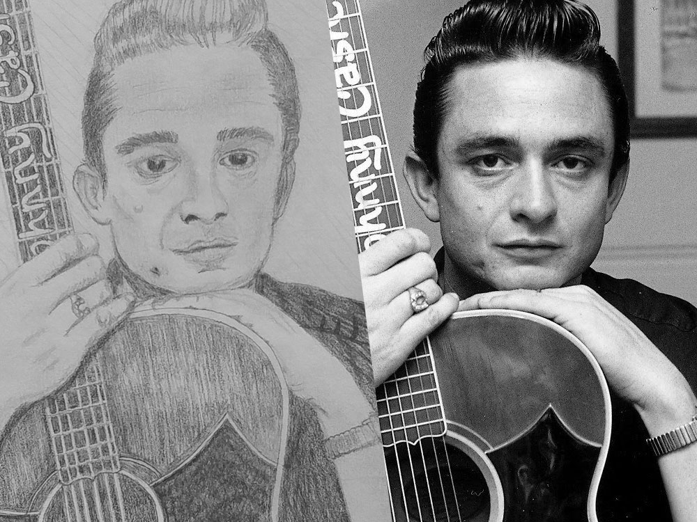 Johnny Cash Holding Guitar Sketch Featured